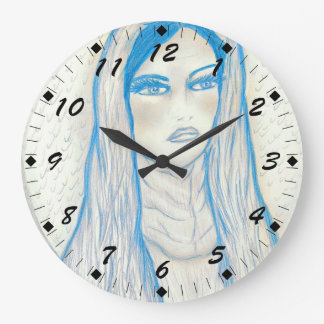 Compassionate Mary in Blues Large Clock