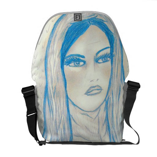 Compassionate Mary in Blues Messenger Bag