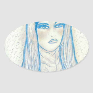 Compassionate Mary - In Blues Oval Sticker