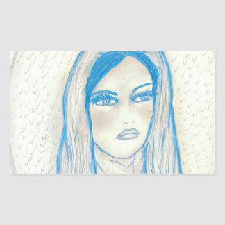 Compassionate Mary - In Blues Rectangular Sticker