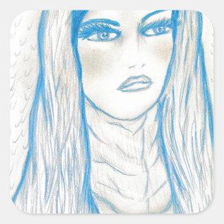Compassionate Mary in Blues Square Sticker