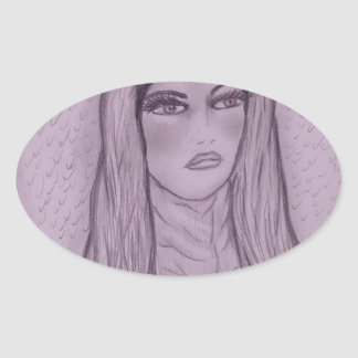Compassionate Mary in Purple Oval Sticker