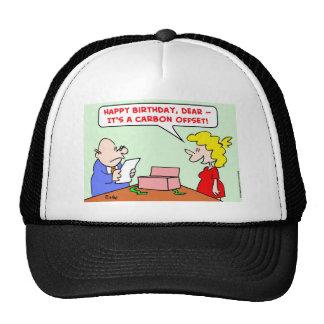 compensación del carbono del feliz cumpleaños gorros bordados