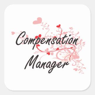Compensation Manager Artistic Job Design with Hear Square Sticker