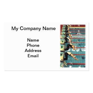 Competencia de la natación en la piscina interior tarjeta personal