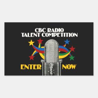 Competencia de radio del talento del CBC - promo Pegatina Rectangular