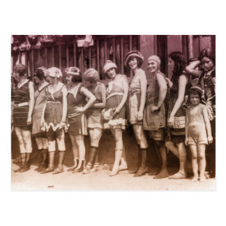 competencia del bañador de los años 20 tarjeta postal