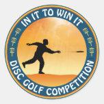 Competencia del golf del disco etiqueta redonda