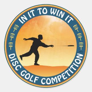 Competencia del golf del disco pegatina redonda