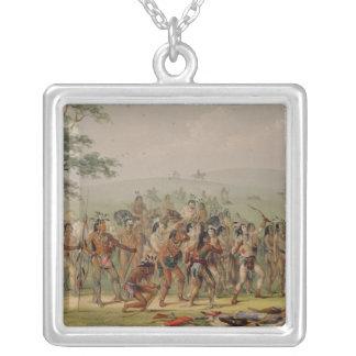 Competencia del tiro al arco de Mandan, c.1832 Collar Plateado