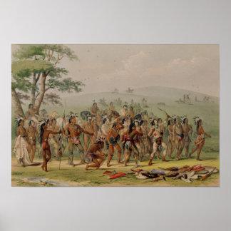 Competencia del tiro al arco de Mandan c 1832 Poster