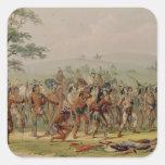 Competencia del tiro al arco de Mandan, c.1832 Colcomanias Cuadradases
