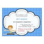 Competencia gimnástica del muchacho (azul) invitacion personalizada