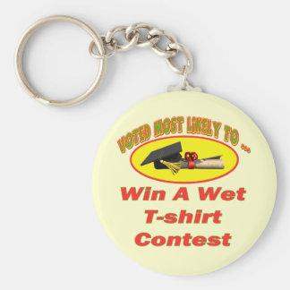 Competencia mojada de la camiseta llavero redondo tipo pin
