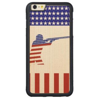 Competidor Todo-Americano del fusilero/del tiroteo Funda De Arce Bumper Carved® Para iPhone 6 Plus