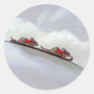 Competir con arte único de esquí de la rata de la pegatina redonda