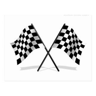 Competir con banderas a cuadros tarjeta postal