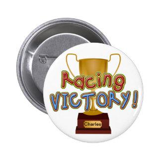 Competir con el botón de encargo del trofeo de la  pin redondo de 2 pulgadas
