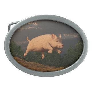 Competir con el cerdo hebillas cinturón ovales