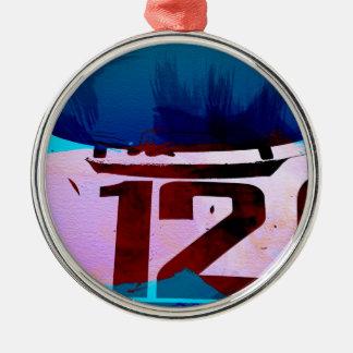 Competir con el número 12 adorno navideño redondo de metal