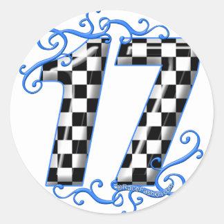competir con el número 17 pegatina redonda