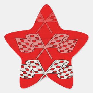 Competir con la bandera a cuadros pegatina en forma de estrella