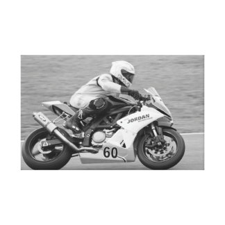 Competir con la motocicleta lienzo envuelto para galerias