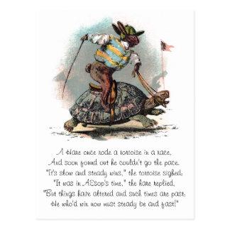 Competir con la tortuga del montar a caballo del tarjeta postal