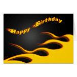 Competir con las llamas: Feliz cumpleaños Tarjetón