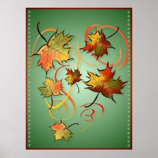 Competir con los posters del viento del otoño