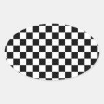 Competir con negro grande del modelo a cuadros de pegatina ovalada