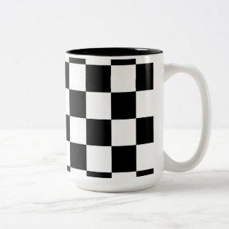 Competir con negro grande del modelo a cuadros de taza de dos tonos