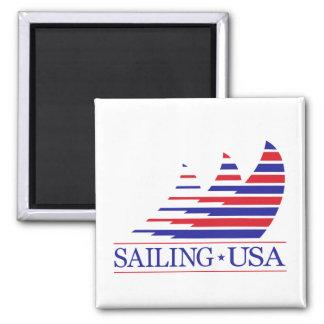 Competir con Stripes_Sailing los E.E.U.U. Imán Cuadrado