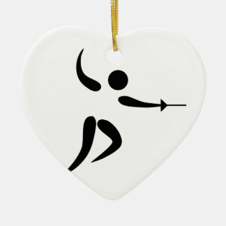 Competitive and Olympic Fencing Pictogram Ceramic Ornament