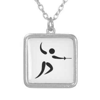 Competitive and Olympic Fencing Pictogram Custom Necklace