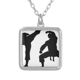 competitive athlete black silver plated necklace