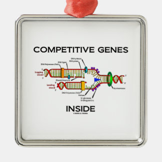 Competitive Genes Inside (DNA Replication) Square Metal Christmas Ornament