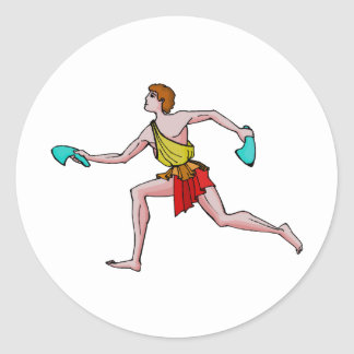 Competitor in the ancient Games Classic Round Sticker