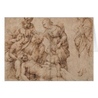 compianto del cristo by Raffaello Sanzio da Urbino Stationery Note Card