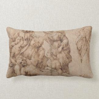 compianto del cristo by Raffaello Sanzio da Urbino Lumbar Pillow