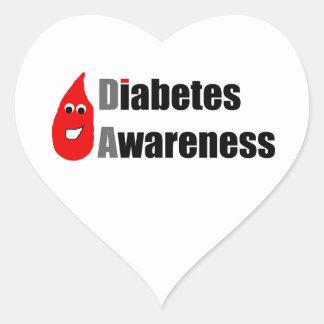 Compinche de la conciencia de la diabetes pegatina en forma de corazón