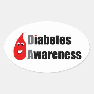 Compinche de la conciencia de la diabetes pegatina ovalada