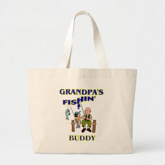 Compinche de la pesca del abuelo bolsa tela grande