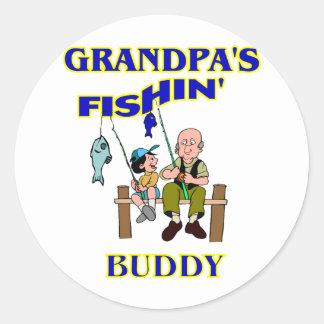 Compinche de la pesca del abuelo pegatina redonda