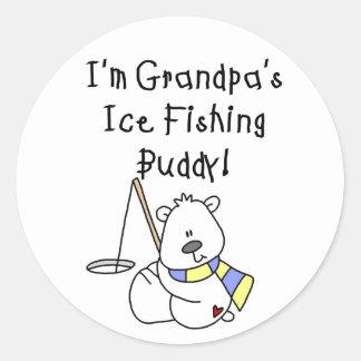 Compinche de la pesca del hielo de los abuelos pegatina redonda