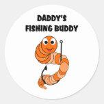 Compinche de la pesca del papá pegatina redonda