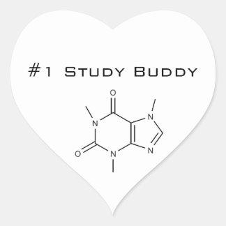 Compinche del estudio del cafeína #1 pegatina en forma de corazón
