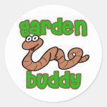 Compinche del jardín etiqueta redonda