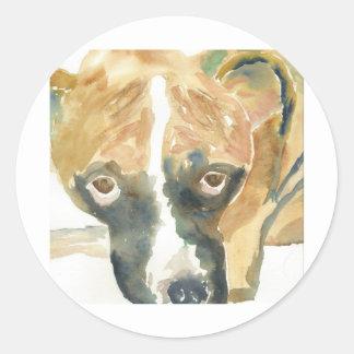 Compinche del perrito del boxeador pegatina redonda