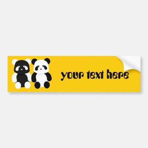 compinches de la panda del kawaii etiqueta de parachoque